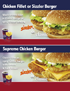 Chicken Fillet Burger or Sizzler Burger, Supereme Chicken Burger